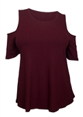 Plus Size Round Neck Ribbed Off Shoulder Top Burgundy