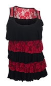Plus Size Tiered Ruffle Tank Top Black Red