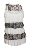 Plus Size Tiered Ruffle Tank Top Floral Print White