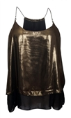 Plus Size Chain Strap Shimmering Layered Top Gold