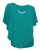 Plus Size Layered Poncho Top with Pearl Pendant Teal