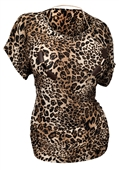 Plus Size Chain Necklace Accented Scoop Neck Top Animal Print