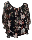 Plus size Layered Floral Print Split Sleeve Top Black
