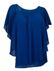 Plus size Layered Chiffon Top Royal Blue