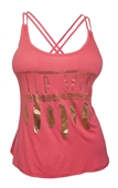 Plus Size Racerback Gold Feather Print Tank Top Coral
