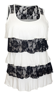 Plus Size Tiered Ruffle Tank Top Floral Print Black White