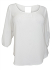 Plus Size Wide Scoop Neck Open Back Top White