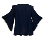 Plus size Smocked Off Shoulder Top Navy Blue