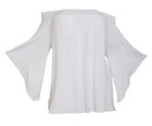 Plus size Smocked Off Shoulder Top White