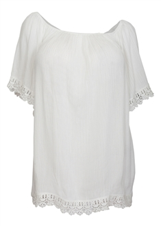 Plus Size Crochet Trim Scoop Neck Top White