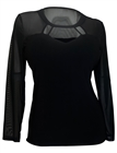 Plus size Mesh Yoke Long Sleeve Top Black