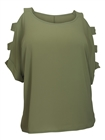 Plus Size Cutout Sleeve Top Olive