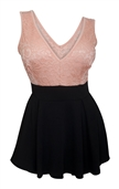 Plus size Lace Overlay Sleeveless Romper Dress Peach