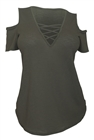 Plus size V-Neck Lace Up Cold Shoulder Top Olive