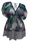 Plus Size Deep Cut V-Neck Paisley Print Tunic Top Navy