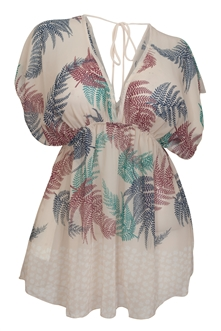 Plus Size Deep Cut V-Neck Paisley Print Tunic Top Taupe
