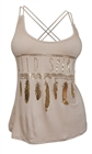 Plus Size Racerback Gold Feather Print Tank Top Taupe
