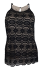 Plus Size Lace Overlay Sleeveless Top Black