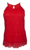 Plus Size Lace Overlay Sleeveless Top Coral