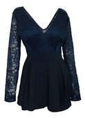 Plus size Lace Overlay Romper Dress Navy