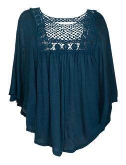 Plus Size Crochet Poncho Top Teal