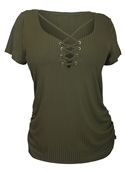 Plus Size Lace Up Short Sleeve Top Olive
