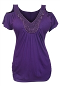 Plus size Drop Shoulder Top Purple 9116