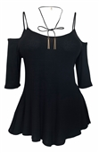 Plus Size Spaghetti Strap Off Shoulder Blouse Black