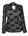 Women's Floral Lace Long Sleeve Top Black