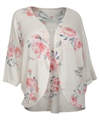 Women's Open Front Cardigan Sweater Floral Print