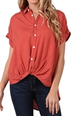 Women's Short Sleeve Button Down Blouse Mauve