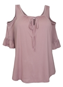 Women's Half Sleeve Cold Shoulder Blouse Lilac