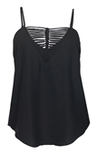 Women's Sexy Deep V-neck Cutout Blouse Black