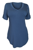 Women's Ballet Tunic Top Denim Blue