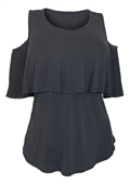 Women's Cold Shoulder Tiered Short Sleeve Top Gray