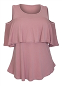 Women's Cold Shoulder Tiered Short Sleeve Top Pink