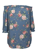 Women's Smocked Off The Shoulder Tunic Top Blue Floral