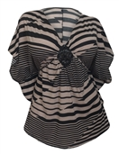 Women's Low Cut V-Neck Slimming Stripe Print Top Taupe