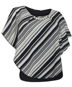 Plus Size Layered Poncho Top with Pearl Pendant Stripe Print Black