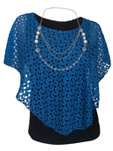 Women's Layered Lace Poncho Top Royal Blue