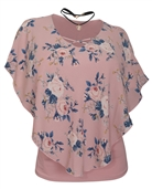 Women's Layered Poncho Top with Choker Necklace Pink Floral Print
