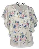 Women's Layered Poncho Top with Choker Necklace Ivory Floral Print