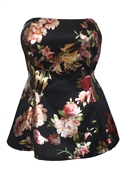 Women's Strapless Peplum Top Black Floral Print 17428