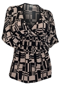 Plus Size Slimming V-neck Smocked Empire Waist Top Abstract Print Taupe 17513