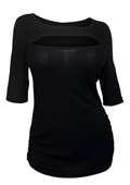 Women's Crew Neck Keyhole Top Black 17513