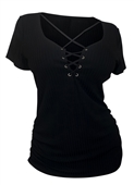 Plus Size Lace Up Short Sleeve Top Black 17513