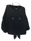 Women's Wide Neck Cold Shoulder Top Black