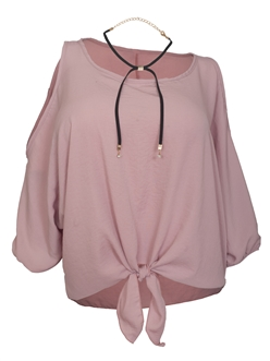 Women's Wide Neck Cold Shoulder Top Blush