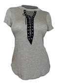 Women's Lace Up Mock Neck Top Gray 1761