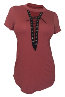 Women's Lace Up Mock Neck Top Rust 1761